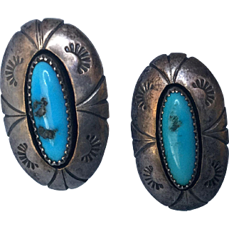 Signed W G Johnson Native Navajo Sterling Turquoise Stone Earrings