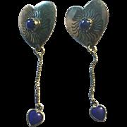 Sterling Lapis Heart Earrings Adorable Must  See