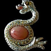 Large Rhinestone Snake Pin Brooch Vintage