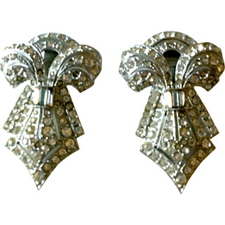 Beautiful Sparkling Vintage Rhinestone Dress Clips