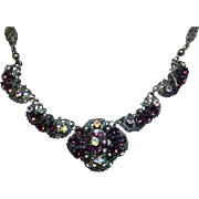 "Vintage Ornate Metal Rhinestone Beautiful 18"" Necklace"