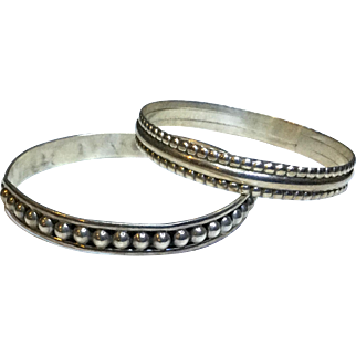 2 Great Mexican Sterling Silver Bangle Bracelets