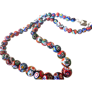 Vintage Graduated Millefiori Vibrant Glass Bead Necklace Top Quality