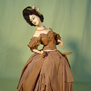 Vintage Wax  Boudoir Half Doll Lamp w/Original Crepe Paper Dress