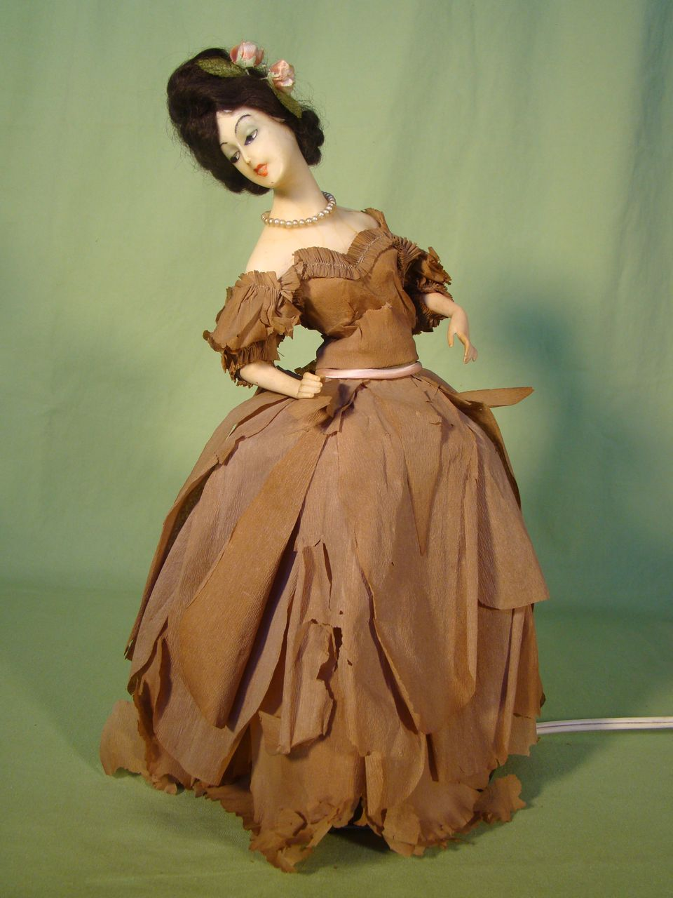 Vintage Wax Boudoir Half Doll Lamp W Original Crepe Paper