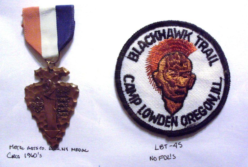 Vintage Boy Scout Black Hawk Trail Medal & Patch -Camp Lowden