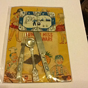 Stamped Tin JAPAN Doll Flow Blue Kitchenware on Original Card