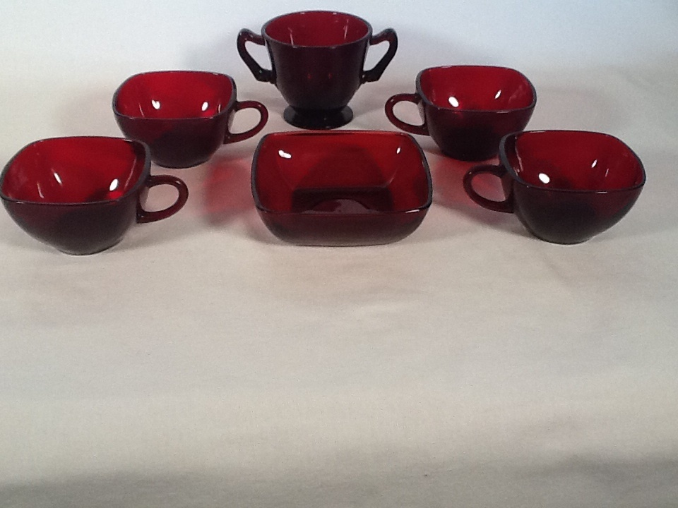 Vintage Royal Ruby Red Square Coffee/Tea Cups Berry Bowl + Sugar