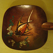Mid Century Enamel Fish on Copper Signed Artist Ashtray Made in Holland