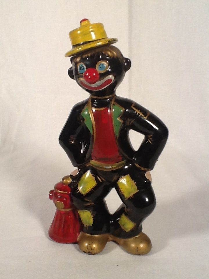 Thames Black Americana Clown Decanter Bottle w/ Hat