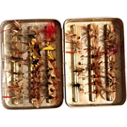 Vintage Fly Box with over 50 Hand Tied Fishing Flies