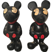 Wonderful pair of 1930's Seiberling Rubber Mickey Mouse Figures