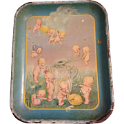 Rare Vintage Kewpie Tin Tray Kewpies Making Lemonade by Rose O'Neill