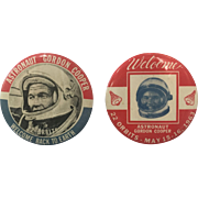 2 NASA Astronaut Gordon Cooper 22 Orbits Pin Back Buttons 1963