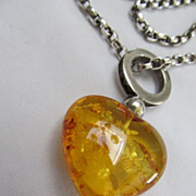 Heart Shaped Amber Necklace sterling chain