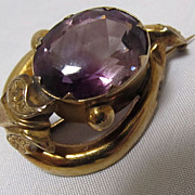 Antique Amethyst Brooch Gold Filled