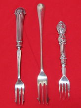 Trio of Silver Plated English  Pickle Forks