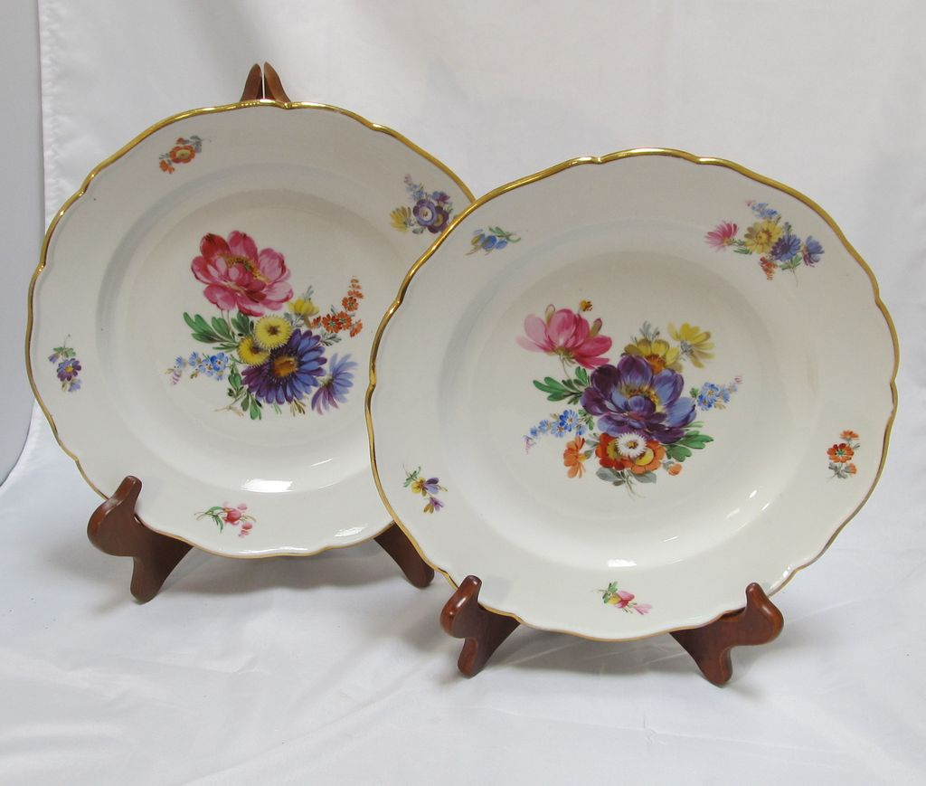 & Pair Meissen Floral Plates : The Steffen Collection | Ruby Lane