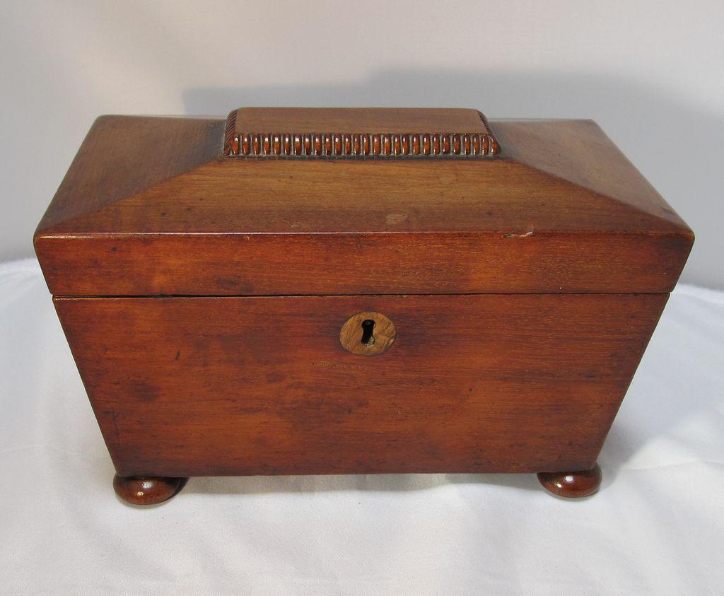 Antique Victorian English Mahogany Tea Caddy The Steffen