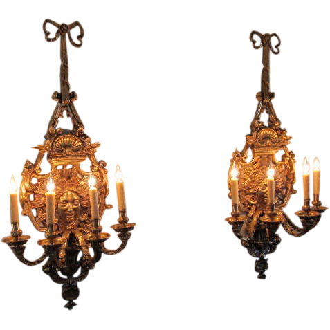 Pair of Louis XIV Style Gilt Bronze Sun King Wall Sconces