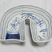 Chinese Porcelain Fish Server Blue/White