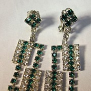 Rhinestone Green & White Dangle Earrings