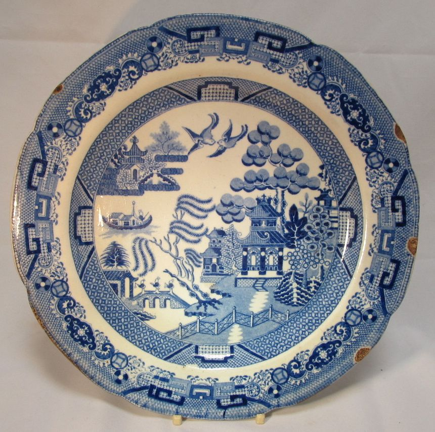 Antique Staffordshire  Blue Willow Plate