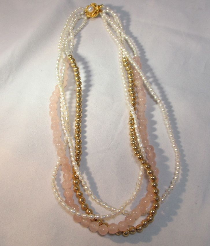 Seed Pearl Amp Rose Quartz Necklace From