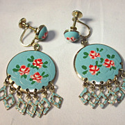 Enameled Floral Earrings [ screw type]