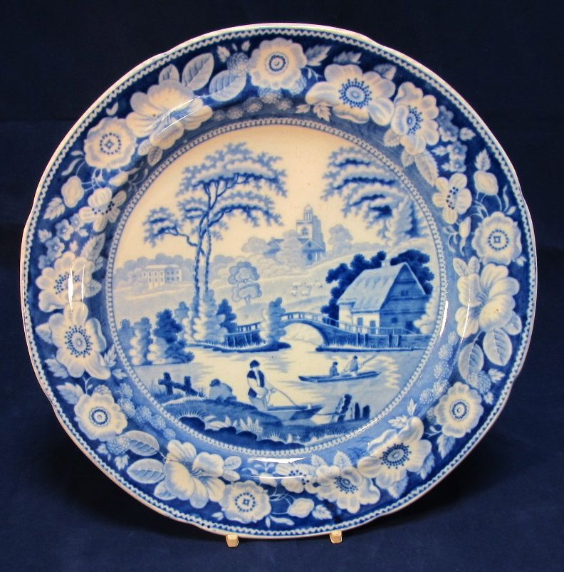 Antique Blue Willow English Dinner Plate From