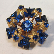 Cobalt  Glass Gilt Brooch