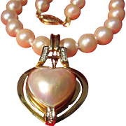 14 K Mabe Pearl/ Diamond Necklace