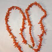 37 Inch Orange Branch Coral Necklace