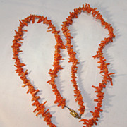 37 Inch Orange Branch Coral Necklace