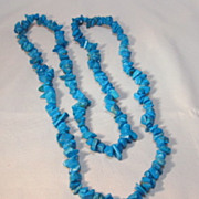 Turquoise nugget necklace 32 inches