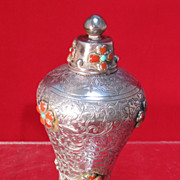 Chinese Sterling Snuff Bottle Hardstones