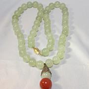 Chinese Celadon Jade Necklace/Pendant