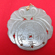Jade Pendant Buddhist Symbols Celadon