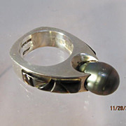 Black Pearl Ring Signed