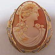 Cameo Brooch Pendant 10 K Yellow Gold frame