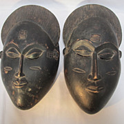 Pair African Baule Wood Masks