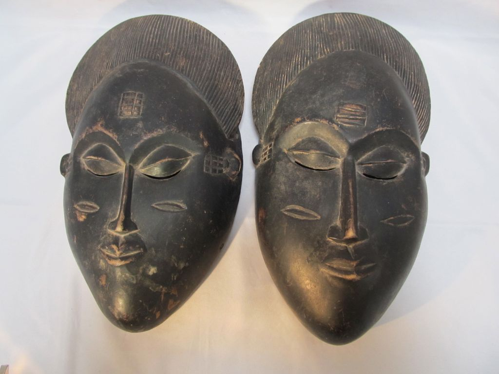 Pair African Baule Wood Masks From Thesteffencollection On