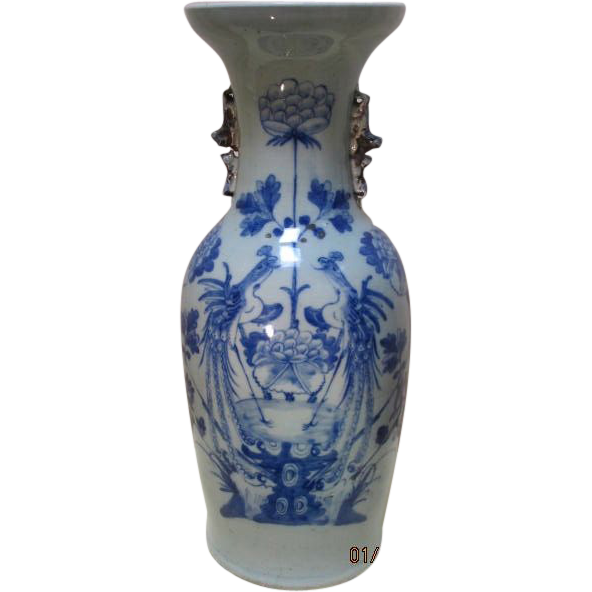 Antique Tall Chinese Celadon/Blue Vase