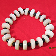 Chinese Celadon Jade Disc Bead Bracelet