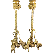 Antique Continental Gilt Bronze Candlesticks Lions  and Rams