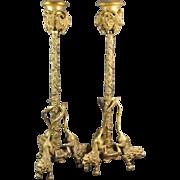 Antique Continental Gilt Bronze Candlesticks Lions  and Rams