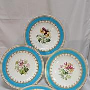Four Minton Floral Porcelain Cabinet Plates