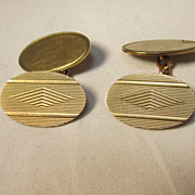 English Art Deco 9K Gold Cuff Links