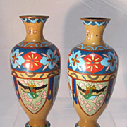 Pair Japanese Cloisonne Vases