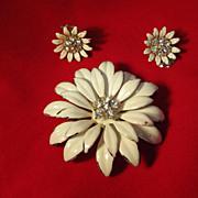 Coro Brooch and Earrings Enamel